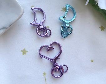 Keychain Clasps - Moon and Hearts: Purple || Blue