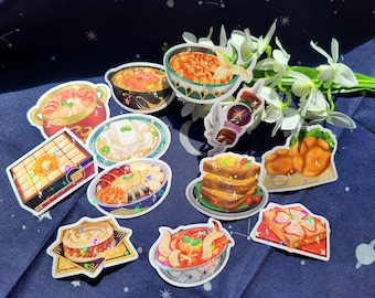 Holographic Stickers: Genshin Food Dishes
