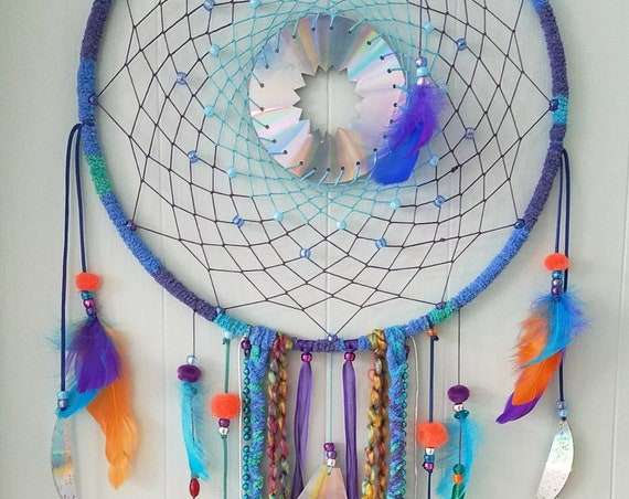 Dreamcatcher vibrant colorful shinny dream catcher Unique fun Boho bohemian purple wallart decor gypsy spiritual art atrapasueño