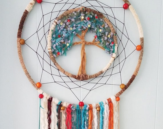 Dreamcatcher vibrant tree of life colorful mystical dream catcher Unique nature inspired Boho bohemian dreamy wall art decor atrapasueño