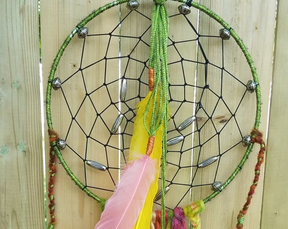 Dreamcatcher green Unique Dream catcher Boho  Wal Art  Handmade Wall hanging.
