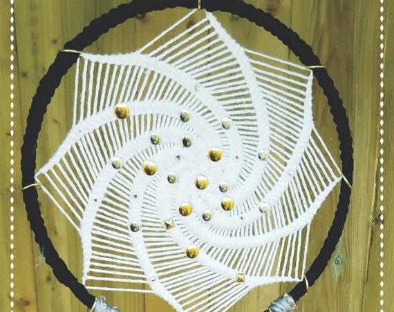 Dreamcatcher Unique bohemian Dream catcher White black and soft colors unique design spiritual Wal Art Handmade Wall hanging homedecor