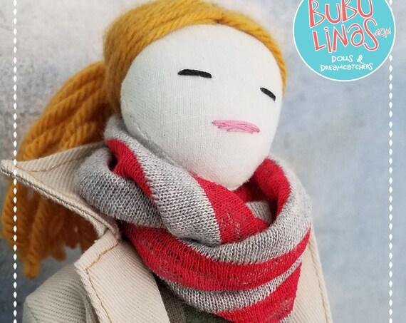 Cute Fabric Doll Handmade redblondhair unique clothdoll fun ragdoll Tilda meets Barbie softdoll bubulinas doll poupees Muñecas de tela