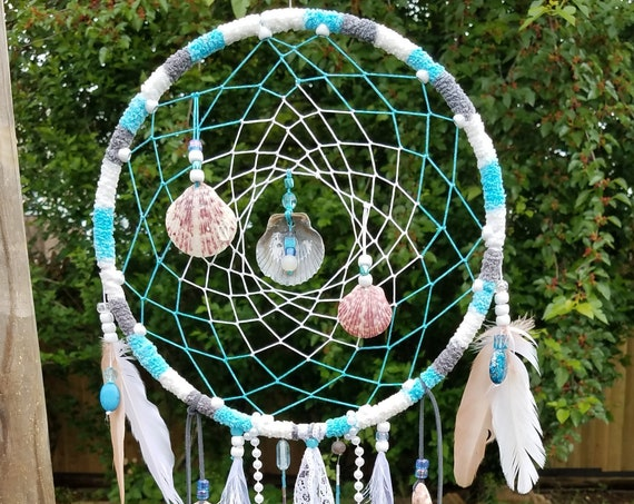 Dreamcatcher Unique Beach Dream catcher Florida seashells Chick Coastal Boho Wal Art Handmade Wall hanging Ocean Inspired beachy art