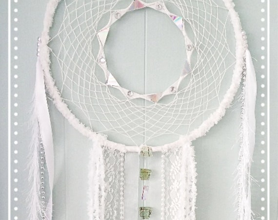 Dreamcatcher angels shabby chic white shinny dream catcher Unique Soft  Boho bohemian dreamy wallart decor girly spiritual art atrapasueño