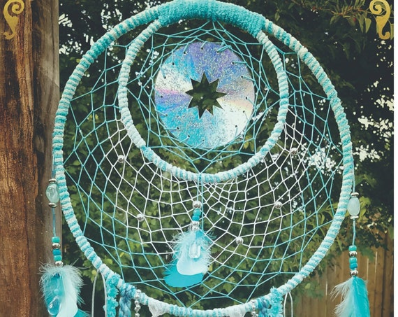 Dreamcatcher Unique Bohemian blue Dream catcher blue spiritual Wal Art Chic home decor recycled CDs ornaments Handmade Wall hanging