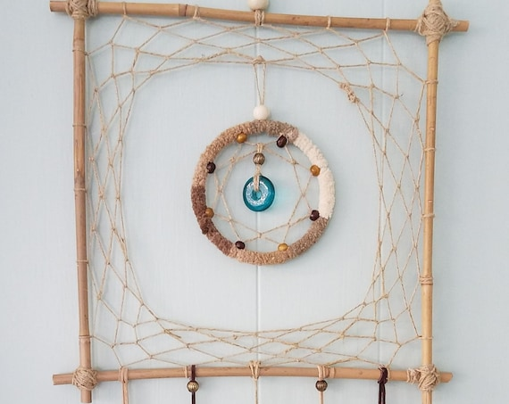 Dreamcatcher Unique square Dream catcher bamboo Boho Wal Art Handmade Wall hanging rustic decor natural colors