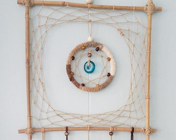 Dreamcatcher Unique square Dream catcher bamboo Boho Wal Art Handmade Wall hanging rustic decor natural colors