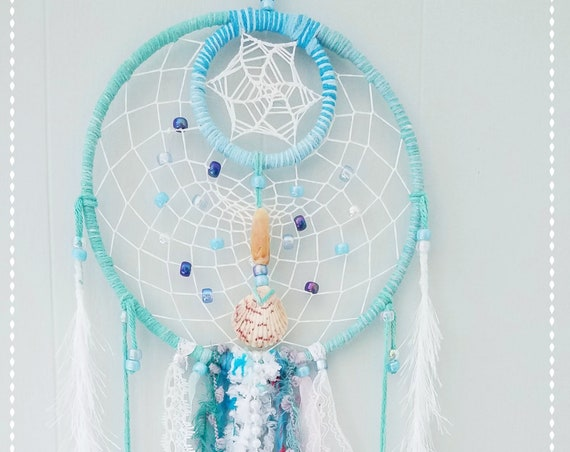 Dreamcatcher Unique Beach Dream catcher Florida seashells Chick Coastal and Boho Wal Art Handmade Wall hanging Ocean Inspired beachy