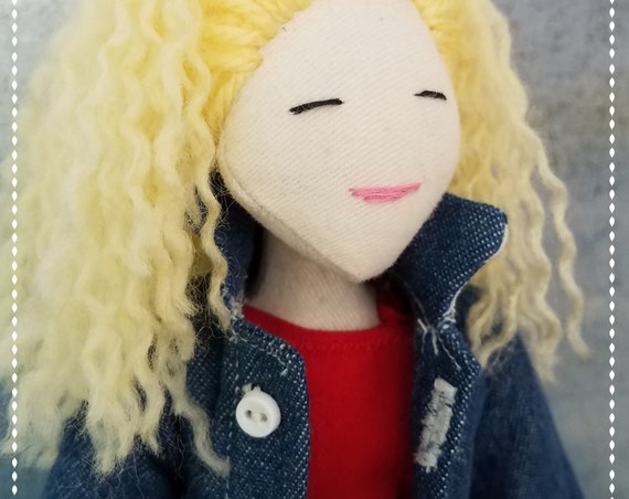 Cute Blonde Fabric Doll Handmade jean jacket cloth doll fun ragdoll Tilda meets Barbie bff softdoll bubulinas doll poupees Muñecas de tela