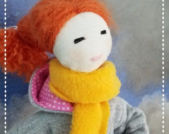 Red Hair Fabric Doll Handmade BFF clothdoll unique handmade Tilda meets Barbie boots hoodie back pack soft doll poupees Muñecas de tela