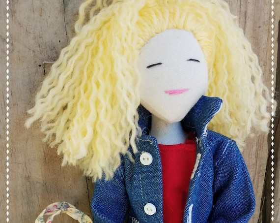 Blonde Curly Hair Doll with Jean Jacket