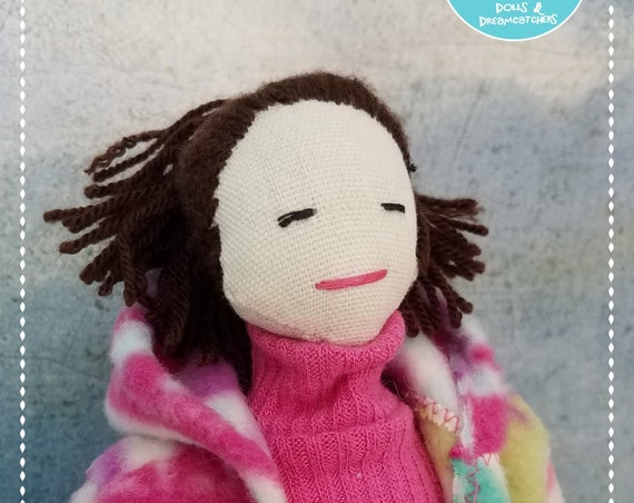 Fabric Doll Handmade short darkhair doll unique clothdoll funragdoll Tilda meets Barbie OOAK softdoll bubulinas doll poupees Muñecas de tela