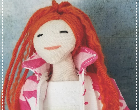Textile doll with clothes. Red hair rag doll. Christmas gift for girls.