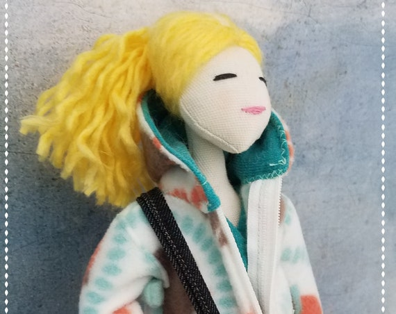 Cute Fabric Doll Handmade fabric doll blonde cloth doll fun ragdoll Tilda meets Barbie bff softdoll bubulinas doll poupees Muñecas de tela