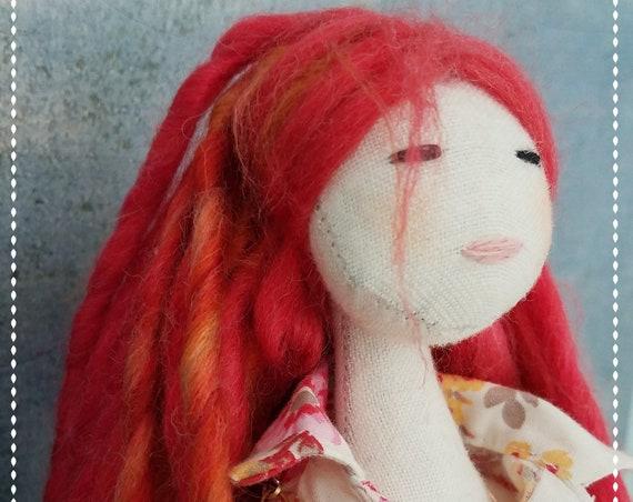 Cute Fabric Doll Handmade fabric doll red hair cloth doll fun ragdoll Tilda meets Barbie softdoll bubulinas doll poupees Muñecas de tela