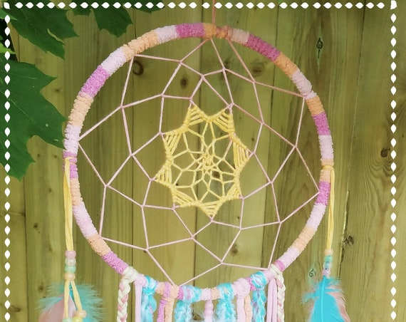 "Dreamcatcher  white and pink 9"" wide  handmade dream catcher Unique  Soft and delicate  Boho dreamy wall art decor atrapasueño"