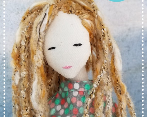 Fabric Doll Handmade bohemian cute blond braids clothdoll unique handmade Tilda meets Barbie chic fashion  soft doll poupees Muñeca de tela
