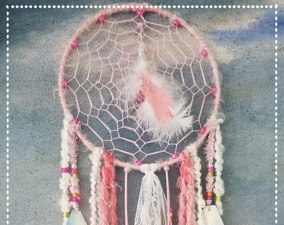 Dreamcatcher pink and white shabby chic dream catcher beads lace recycled CDs shiny delicate and dreamy Boho Wall Hanging  bohemian OOAK