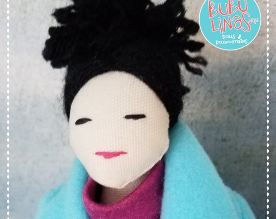 Fabric Doll Handmade Soft Doll Black Hair Doll Pouppe Muñeca