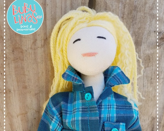 Blonde Doll with Blue Plaid Flannel Shirt
