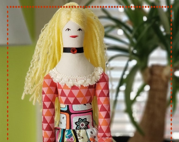 Blond hair rag doll long legs fabric doll