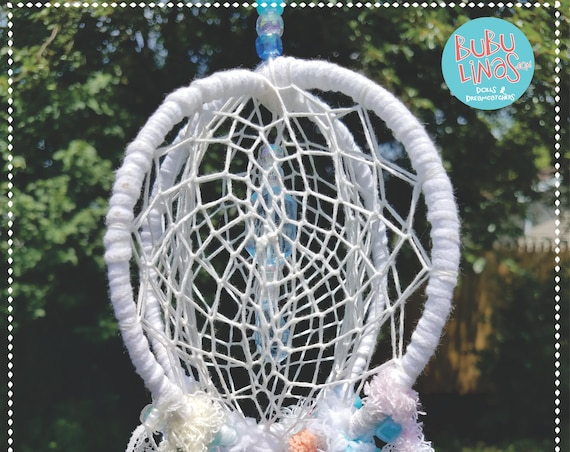 Small Dreamcatcher  3D Dream catcher  Handmade  Unique  Boho white pink light blue nursery decor spiritual ceiling hanging mobile