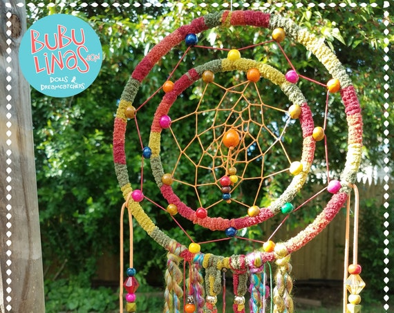 Dreamcatcher vibrant  colorful handmade mystical dream catcher Unique nature inspired Boho bohemian dreamy wall art decor atrapasueño
