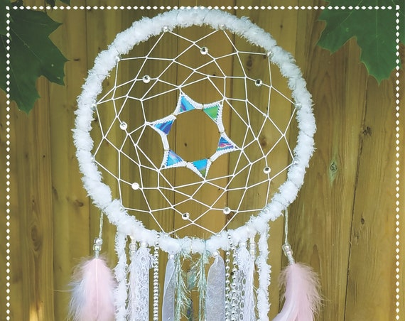 Dreamcatcher angels shabby chic white shinny dream catcher delicate Boho bohemian dreamy wallart decor girly spiritual art atrapasueño
