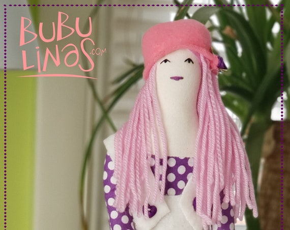 Adorable soft doll long pink hair hat with flowers and purple stockings