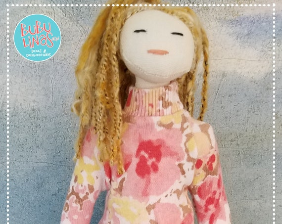 Cute Fabric Doll Handmade blonde draids unique cloth fun ragdoll Tilda meets Barbie soft doll bubulinas doll poupees Muñecas de tela