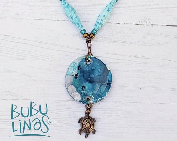 Boho Necklace, Boho Jewelry, Turtle Charm, Paper beads Jewelry