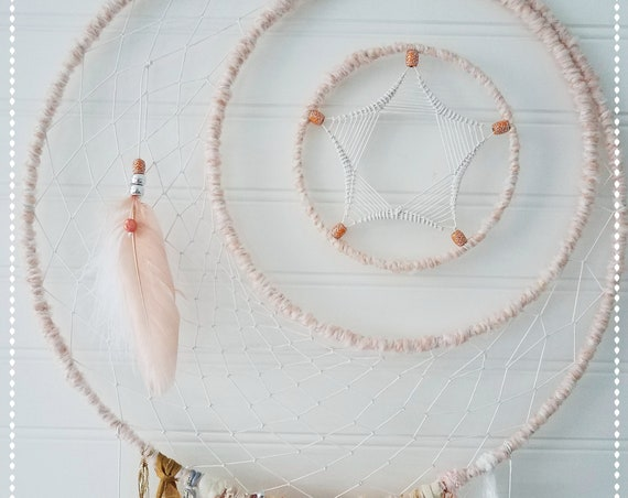 Dreamcatcher Bohemian moon and stars dream catcher chic beige wall decor nursery wall decor girl baby shower boho gift for her