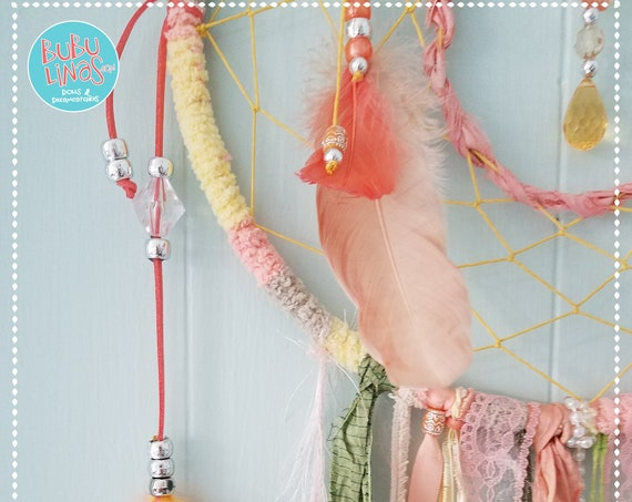 Dreamcatcher Bohemian Dream Catcher Boho Shabby Chic pink peach green nursery wall decor baby shower gift girls room wall decor