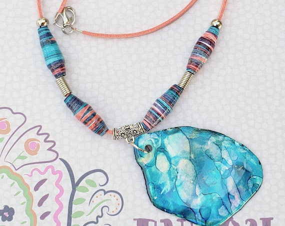 Boho paper beads and big medallion necklace