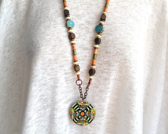 Long Boho beaded Necklace | Polymer Clay Long Necklace | Beaded Long adjustable necklace |Tribal Ethnic Jewelry | Hippie Necklaces |