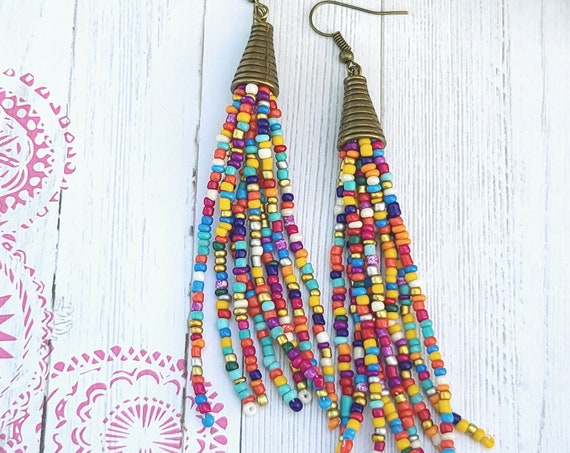 Long Beaded Tassel Earrings | Beaded earrings | Tassel Earrings | Boho earrings | Fringe earrings | Statement earrings | Seed bead earrings
