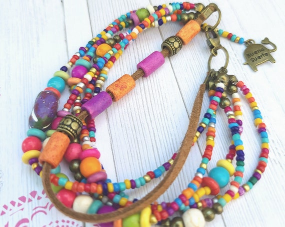 Colorful beaded Bracelet. Six Strand Toggle Bracelet. Christmas Multi Color Jewelry. Colorful boho jewelry.