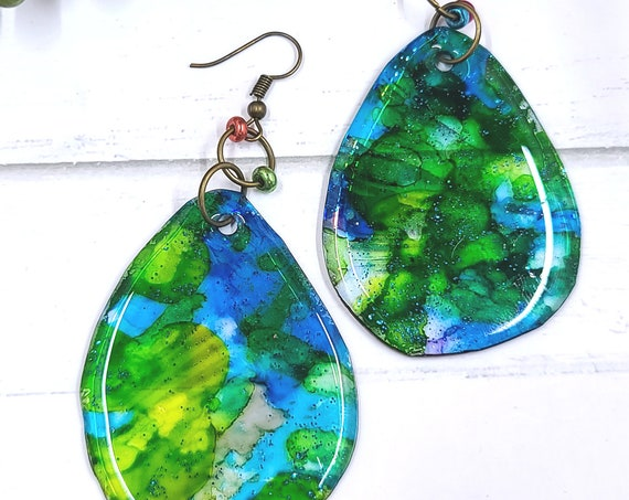 Alcohol Ink earrings. Resin earrings. Colorful Boho drop dangle earrings. Long dangle earrings. Summer jewelry