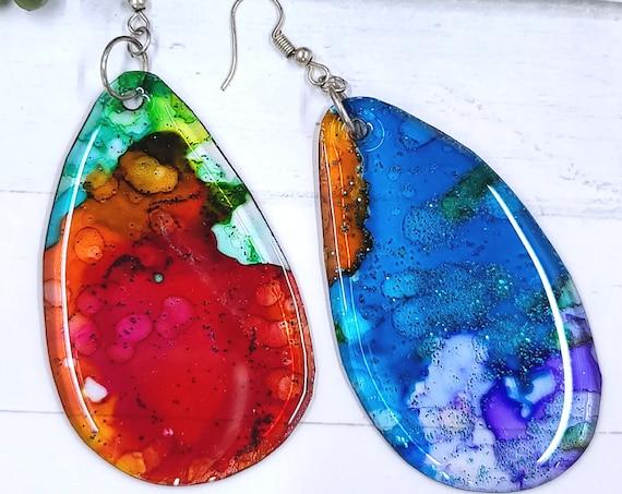 Alcohol Ink earrings. Resin earrings. Bold Colorful Boho drop dangle earrings. Long dangle earrings. Summer jewelry