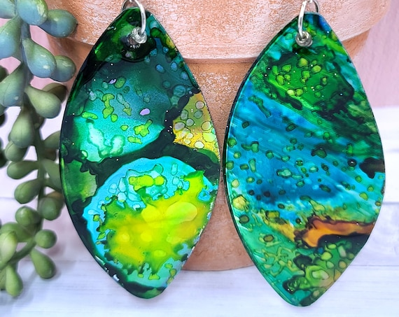Alcohol Ink and resin earrings. Oval Large dangle drop earrings. Recycled Earrings. Artisan Hippie Earrings. Bold Statement Earrings
