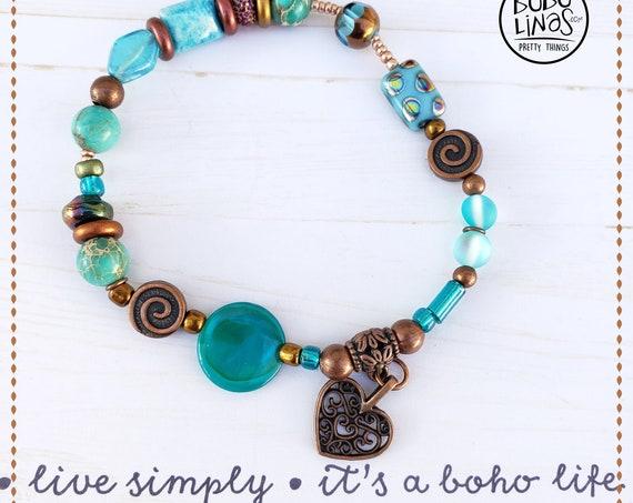 Bracelet Bohemian beaded gemstones Heart Charm hippie charm bracelet