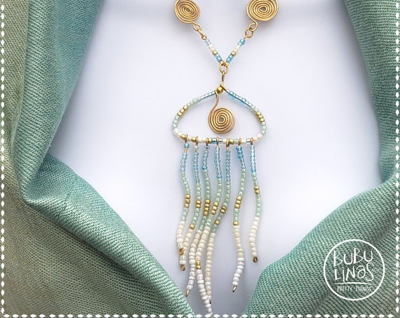 Unique jellyfish necklace. Seed bead necklace. Unique  Gift for Her.. Design jewelry.