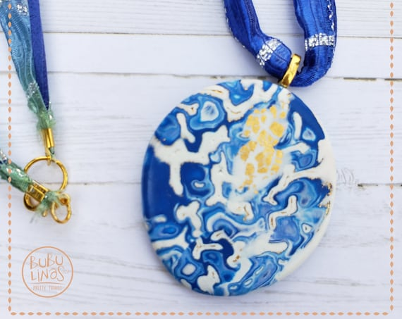 Medallion necklace   Polymer clay necklace   Pendant Necklace  Polymer clay medallion necklace   organic jewelry   Gift for Her.