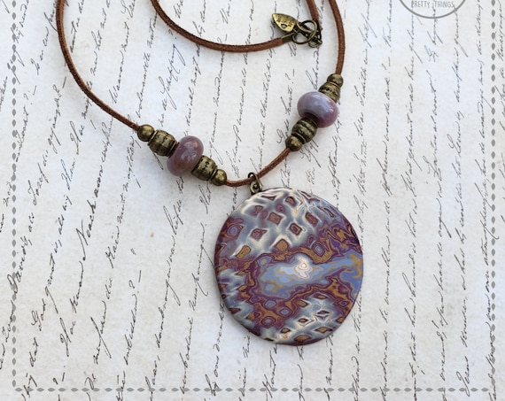 Polymer clay necklace | Pendant Necklace | Medallion necklace | Polymer clay medallion necklace | Gift for Her. | Mokume Gane Pendant