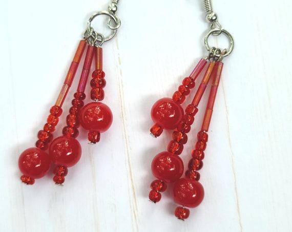 Blood drops earrings. Beaded dangle earrings. Tassel earrings. Seed bead earrings.