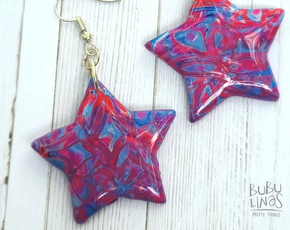 Blue and pink star dangle polymer clay earrings