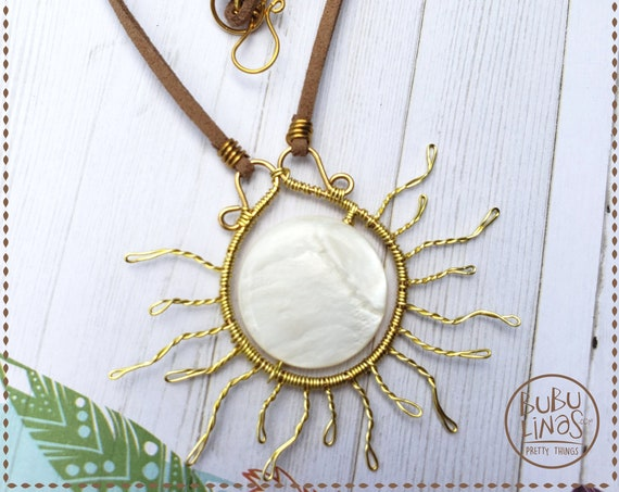 Summer Jewelry, Beach Necklace, Statement Necklace, Sun Pendant