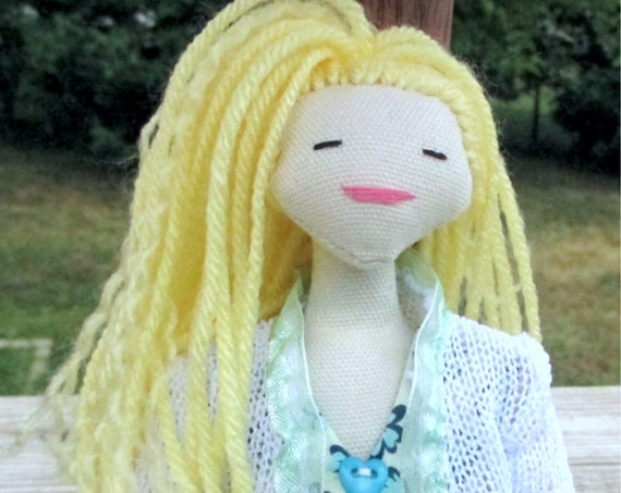 Doll with hat. Rag doll Christmas gift. Textile doll with dress.