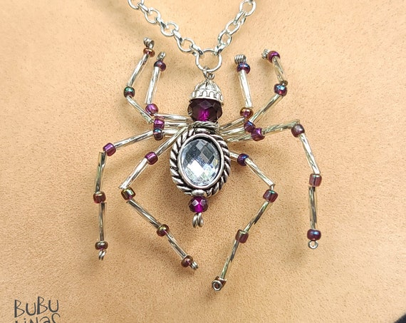 Silver and Purple Spider Necklace